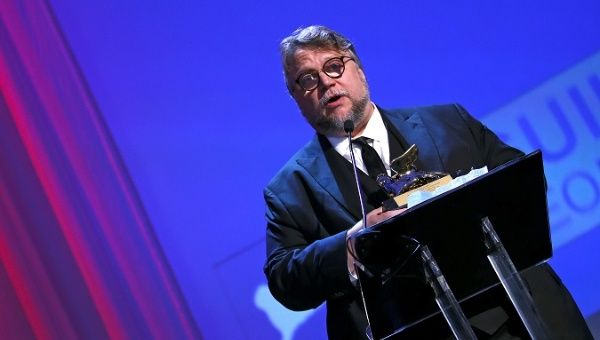 Director Del Toro speaks after winning the Golden Lion award for the best movie.