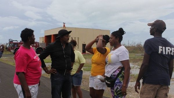 Prime Minister Gaston Browne talks to residents on Barbuda after Hurricane Irma.