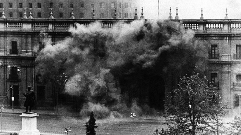 The Chilean presidential palace La Moneda under fire during the coup, Sept. 11, 1973.