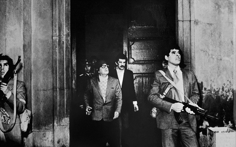 The last photo of President Salvador Allende alive at the La Moneda presidential palace, Sept. 11, 1973.
