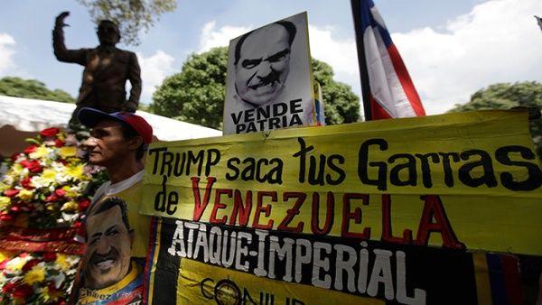 Los venezolanos marcha en Caracas en defensa de su soberanía, a 44 años del fallecimiento de Salvador Allende en Chile