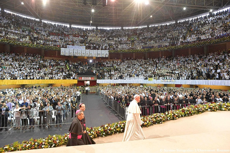 Pope Francis participates in an activity for priests, religious members and their families at La Macarena stadium in Medellin, Colombia, Sept. 9, 2017.