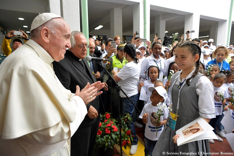 Pope Francis visits the Hogar San Jose orphanage in Medellin, Colombia, Sept. 9, 2017.