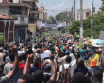 Hundreds of people protest the budget for next year in Port-au-Prince.