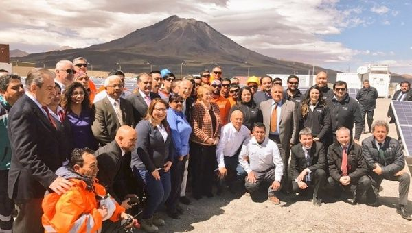 Chilean President Michelle Bachelet during the inauguration of the geothermal plant.