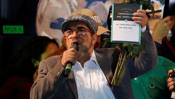 Timochenko speaks during the launching of the new political party Revolutionary Alternative Common Force, at the Plaza de Bolivar in Bogota, Colombia Sept. 1, 2017.