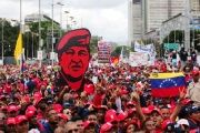 The Venezuelan people in the streets in support of the government.
