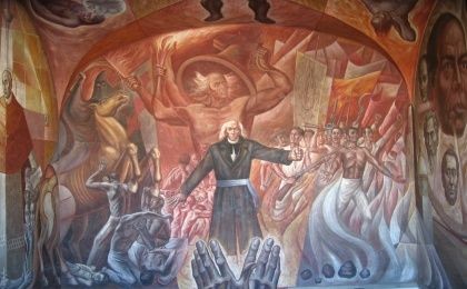 A mural depicting Miguel Hidalgo, a Mexican Catholic priest and a leader of the Mexican War of Independence.