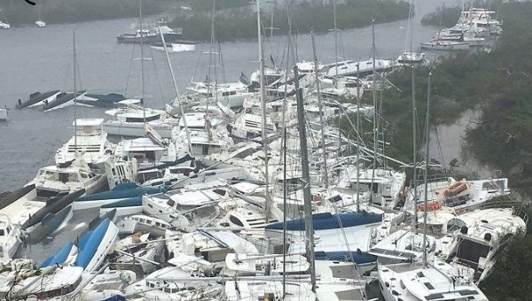 Boats piled high in the BVI after Hurricane Irma.