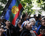 Indigenous Mapuches during a protest in Buenos Aires.