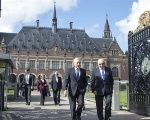 The Chilean Foreign Minister Heraldo Munoz (L) and Claudio Grossman (R) at the International Court of Justice in The Hague, The Netherlands, September 15, 2017