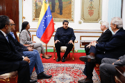 The Venezuelan President Nicolas Maduro holds talks with the Parlasur leader Arlindo Chinaglia at Miraflores Palace in Caracas, Venezuela, September 15, 2017