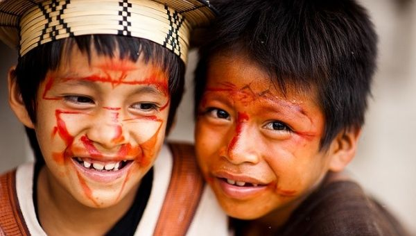 Indigenous children from the Ashaninka Aldeia Apiwtxa in Brazil, one of the award recipents.