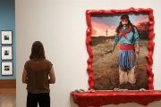A woman looks at 'Gaucho Gil. Buenos Aires' by the Argentine artist Marcos Lopez at the Getty Museum, Los Angeles, U.S., September 12, 2017