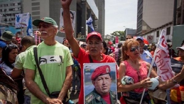 People march in support of the Venezuelan government.