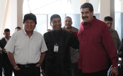 The Bolivian leader has been holding talks with the Venezuelan President Nicolas Maduro.