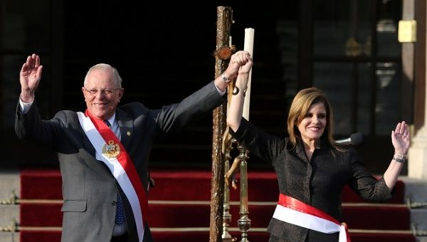 The Peruvian President Pedro Pablo Kuczynski and Prime Minister Mercedes Araoz at the swearing-in ceremony in Lima, Peru September 17, 2017.