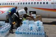 Eight tons of rice, water, milk, sheets, and toiletries was donated by Suriname's Foreign Affairs Office.