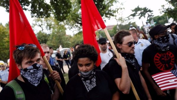 Anti-fascist protesters gather to protest during the Mother of All Rallies demonstration on the National Mall in Washington, U.S., September 16, 2017.