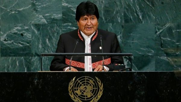The Bolivian President Evo Morales addresses the United Nations General Assembly in New York