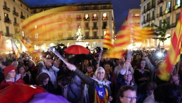 Catalan Independence supporters in Girona, Catalonia.