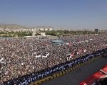 Tens of thousands of supporters of Yemen's Houthi rebel movement gather in the capital Sana'a to mark the third anniversary of the rebel uprising.
