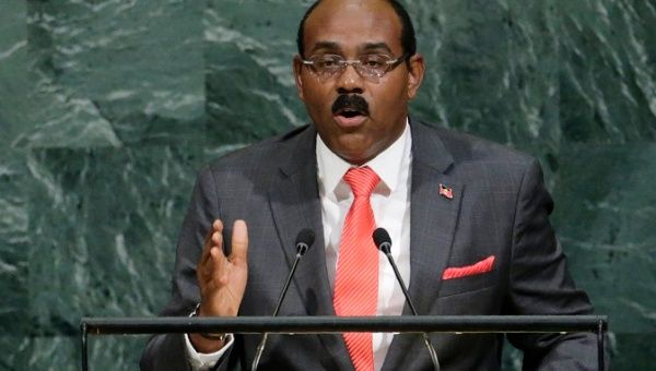 The Prime Minister of Antigua and Barbuda Gaston Browne addresses the U.N. General Assembly, New York, U.S. September 21, 2017.