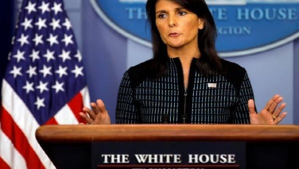 U.S. Ambassador to the U.N. Nikki Haley attends the daily briefing at the White House in Washington, U.S., September 15, 2017.