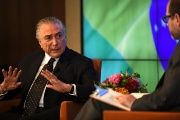 Brazilian President Michel Temer during an interview in New York.
