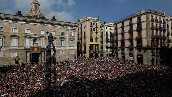 Thousands protest in support of Catalan independence.