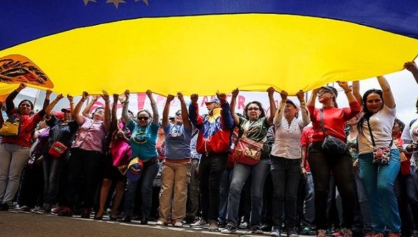Chavistas take part in pro-government demonstration.