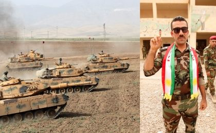 Turkish tanks during a military exercise near the Turkish-Iraqi border (L) Member of Peshmerga forces shows at referendum in Iraq (R) Sept. 25, 2017.