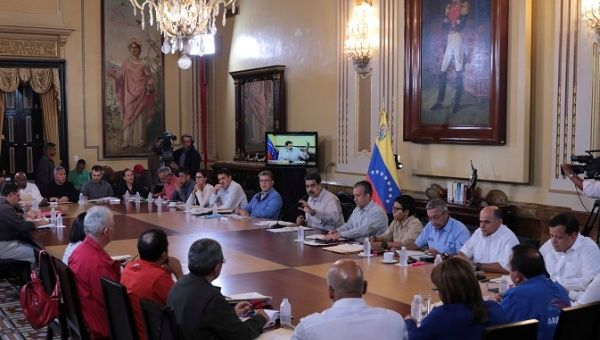 President Nicolas Maduro speaks to ministers and governors in Caracas, Sept. 25, 2017.