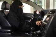 A woman behind the wheel in Saudi Arabia in 2013.