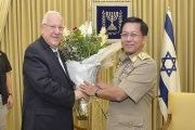 Israeli President Reuven Rivlin and Myanmar's Commander-in-Chief Senior General Min Aung Hlaing in Jerusalem