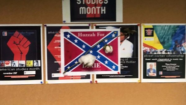 Confederate flag poster with cotton attached found at American University in Washington D.C., U.S., September 26, 2017 in this picture obtained from social media.