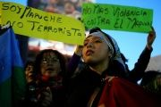 A Mapuche activist attends a protest in Santiago. The signs read: