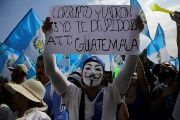 Protesters against government corruption in Guatemala.