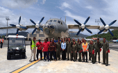 One of the Venezuelan planes that transported trained volunteers, relief and logistical supplies to Barbuda and Dominica, through Antigua and Saint Lucia.