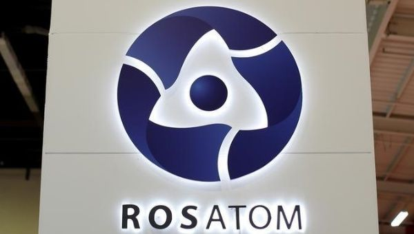 The logo of Russian state nuclear company Rosatom is pictured at the World Nuclear Exhibition 2014, the trade fair event for the global nuclear energy sector.