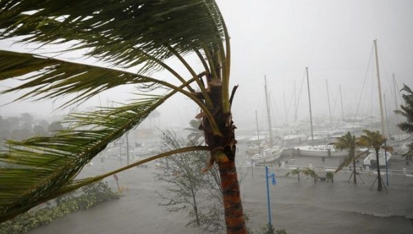 Boats are seen at a marina in Coconut Grove as Hurricane Irma arrives at south Florida.
