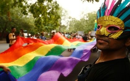 Participants take part in a gay pride march in New Delhi, 28 June 2009.