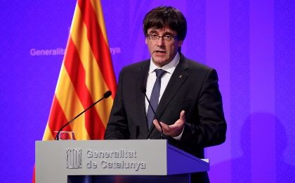 Catalan President Carles Puigdemont speaks during a news conference at Generalitat Palace in Barcelona, Spain, Oct. 2, 2017.