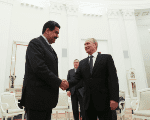The Venezuelan President Nicolas Maduro is greeted by his Russian counterpart Vladimir Putin at the Kremlin