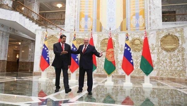 Venezuelan President Nicolas Maduro meets with his Belarusian counterpart, Alexandr Lukashenko.