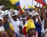 People from Choco, home to large Afro-Colombian and Indigenous communities, participate in a protest.