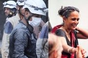 The White Helmets (L) and Arundhati Roy (R).
