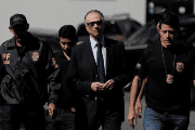 Brazilian Olympic Committee President Carlos Arthur Nuzman arrives at federal police headquarters in Rio de Janeiro.