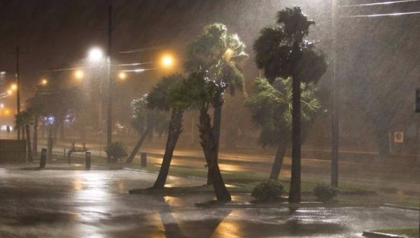 Hurricane Nate (now Tropical Storm) lashes Biloxi, Mississippi Saturday night.