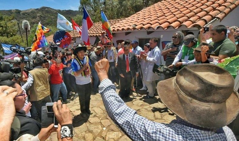 "Photo courtesy of the Bolivian Information Agency of President Evo Morales (c) in the town of La Higuera (Bolivia) today, Sunday October 8, 2017, where he made a wreath for the Ernesto ""Che"" Guevara, who was executed in there on October 9, 1967. The president of Bolivia stated that his country would be ""totally different"" if the Cuban Argentine guerrilla had not died."